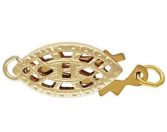 14k Gold Filled 6.0x12.3mm Oval Filigree Pearl Clasp (GP-4003566A)