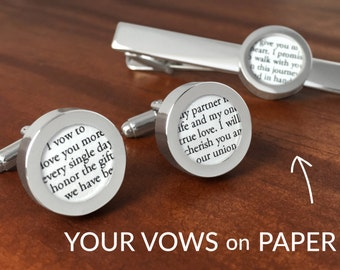 One Year Anniversary / First Anniversary Gift / 1st Anniversary for Him / Custom Cufflinks and Tie Clip Gift Set with Your Vows on PAPER