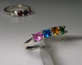 Mother's Ring or Grandmother's Ring with 4ea 4mm lab created birthstones. 2,3,4 and 5 stone rings are available in other listings.