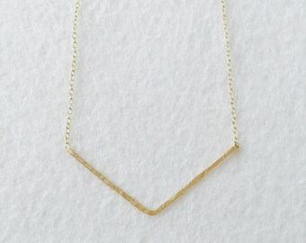 FREE SHIPPING Gold Chevron Necklace, 14k gold filled minimal delicate dainty layering hand forged