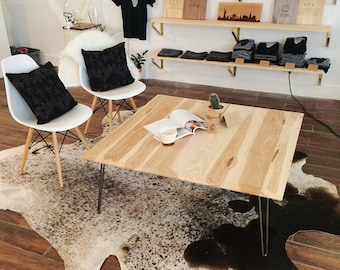 Pecan Wood Coffee Table or Desk with Hairpin Legs