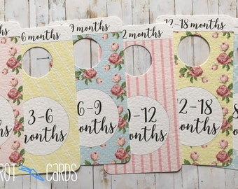 Baby Clothes Dividers Floral, Nursery Decor Girl, Baby Shower Gift, Baby Girl Gift, Vintage Style Nursery