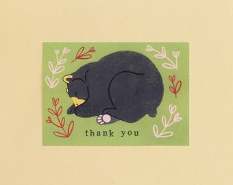 Sleeping Bear Illustration 'thank you' card