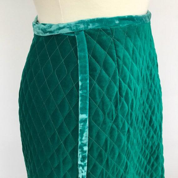 Vintage velvet skirt, maxi wrap skirt, jewel tone green, 1960s skirt, A line long, boho, S, velour, quilted velvet, 60s skirt, holt renfrew,