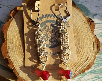Helm weave chainmaille earring with dangle
