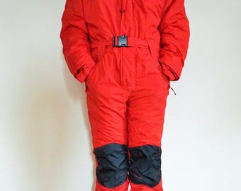 Vintage One Piece Skiing Suit / Ski / Suit / Red / Medium / M / 48 / Onepiece / Skiing / Costume / Overall / Jumpsuit / Romper / Recco brand