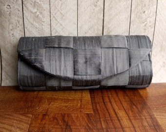 Gray clutch, woven silk clutch bag, slate gray purse, charcoal evening bag, gift for her, womens fabric purse, barrelette
