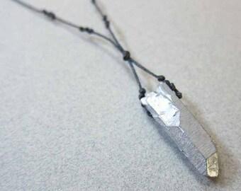 """Raw Stone Jewelry, Raw Crystal Point Necklace, Silver Crystal Quartz Necklace, Rough Gemstone, 30"""", Raw Crystal Pendant, Quartz Necklace"""