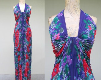 Vintage 1980s Gown / 80s Travilla Purple Floral Knife Pleated Halter Maxi Dress / Small-Medium