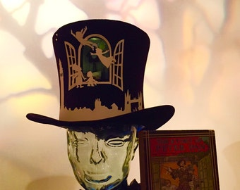 Peter Pan Top Hat, with miniature light-up diorama Darling home, flight silhouetted outside, London