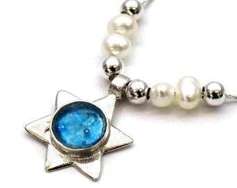 Roman Glass Unique Pendant, Star of David Maghen David, Sterling Silver Judaica, Roman Glass Magen David  Freshwater Pearls, Israel Jewelry