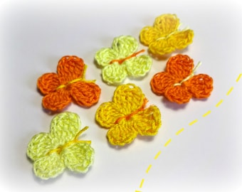 6 butterflies in yellow and orange cotton crochet