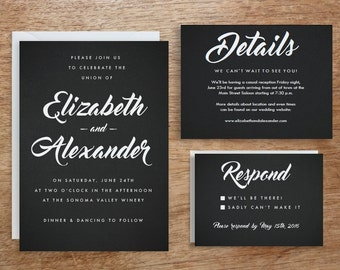 Printable Wedding Invitation Template   Instant Download   Black Chalkboard   DIY   Editable Adobe pdf   Retro Type RSVP & Info Card Set PDF