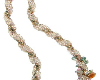 """Tearose Spiral Necklace instant download pattern, Czech bead decoration,  toggle loop closure, sizable to 22"""", link to free video tutorial"""