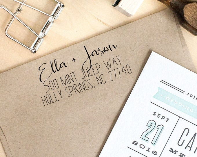 Featured listing image: Return Address Stamp, Self-Inking Address Stamp, Housewarming Gift, Save the Date Stamp, Personalized Address, Address Label, Wedding Stamp