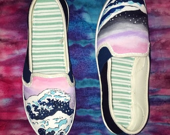 Great Wave custom painted shoes