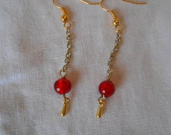 BO 473 - Earrings red and gold