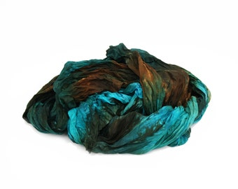 silk scarves - Charming Elf - turquoise, brown silk ruffled scarf.