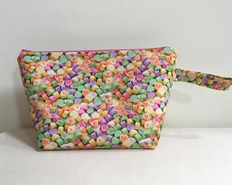 Knitting Project Bag, Sock Bag, Project Bag, Small Knitting Project Bag, Zipper Bag, WIP Bag, Valentine Project Bag, Candy Hearts Bag