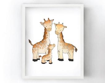 Giraffe Family Art Print - Safari Nursery Prints for Kids Room