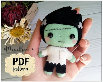 Cute Frankenstein pattern Halloween sewing tutorial Frankenstein felt template DIY felt ornaments Halloween patterns DIY Halloween ornaments