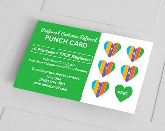 Rodan and Fields Business Cards, PC Referral Punch Card, Loyalty Card, RF, R and F, Digital