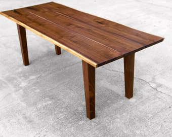 Walnut Live Edge Dining Table With Tapered Legs Nakashima Inspired Table Farmhouse Dining Table Rustic Dining Table Reclaimed brandMOJO