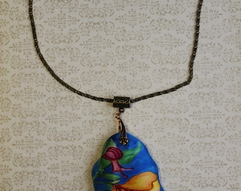 Hand painted silk pendant with a flower and a little snail. Hand painted pendant. Bright pendant. Unusual jewelry. Ready to ship.