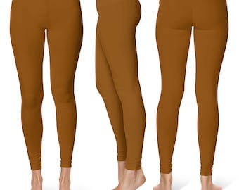 Chocolate Brown Leggings, Mid Rise Waist Yoga Pants, Workout Clothes for Women