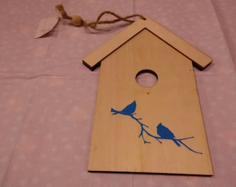 sweet birdhouse shape wooden hanger