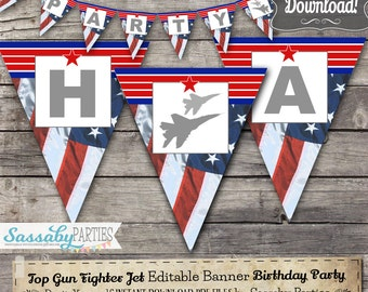 Top Gun Fighter Jet Party Banner - INSTANT DOWNLOAD - Editable & Printable Birthday Decorations, Decor, Bunting by Sassaby Parties