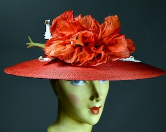 1940's Vintage Red Broad Brim Picture Hat_HUGE Silk POPPIES_COLBY_True 40s Vintage_Churchill Downs_Kentucky Derby_22