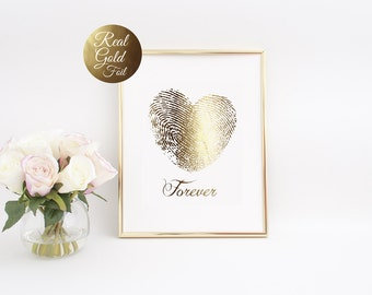 "Fingerprint Heart ""Forever"", Gold Foil Print, Gold Print, Couple Print, Illustration Art Print, Gold Foil, Love Print, Valentines Day Print."