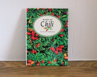 """Vintage Cookbook Seasoning """"Book of Chili"""" Jackie French Cooking"""