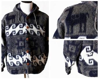 Vintage Men's Coat - Llama Coat Retro Soft