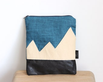 Blue linen and leather pouch