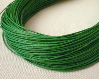 5M thin cord - waxed cotton - Green - 1 mm