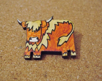 Vintage Highland Cow Pin Brooch Made Of Wood