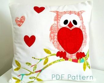 Owl Cushion Pillow Pattern; PDF Applique Pattern; PDF Sewing Pattern; Instant Download; Nursery Cushion