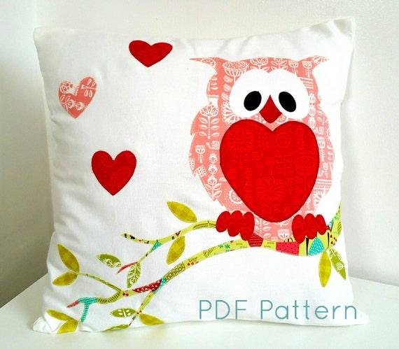 Owl Cushion Pillow Pattern PDF Applique Pattern PDF Sewing