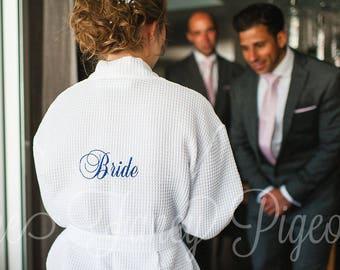 WEDDING DAY ROBE - Getting Ready Robe - Dressing Gown - Bridesmaid Robes - Bridal Robe - Wedding Robe - Bride Robe - Maid of Honor Robe