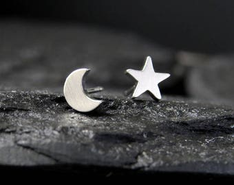 Mismatched earrings / Star and moon earrings / moon studs / stud earrings for sensitive ears / surgical earrings