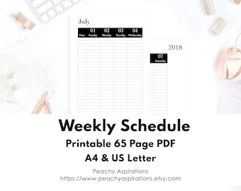 Weekly Schedule/ Planner/ Printable/ Dated July To December/ Sunday Start/ A4/ US Letter/ On Two Pages/ At A Glance/ 2018/ Inserts/ Routine
