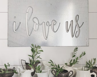 i love us || Cursive Sign || Metal Sign || Home Decor || Metal Word || Wedding Gift || Gallery Wall || Photo Prop || Galvanized || Black