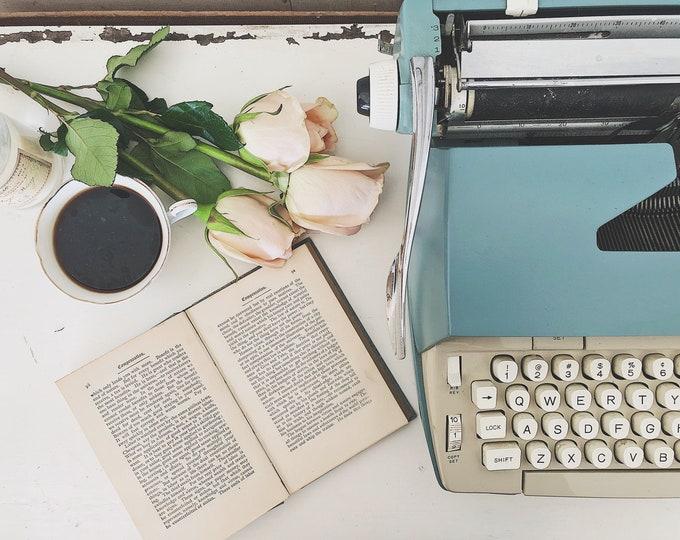 Featured listing image: Blue Typewriter || Coronet Electric 12 || Smith Corona || Old Typewriter || Electric Typewriter || Vintage Style Decor ||