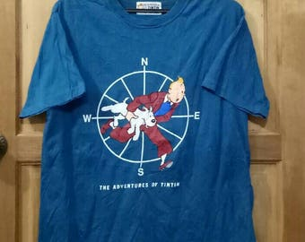 Rare!! The Adventures of TINTIN T-shirt nice design blue colour large size