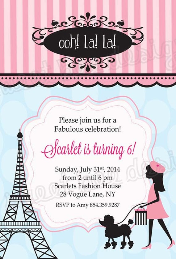 Paris birthday invitation french birthday party invitation stopboris Gallery