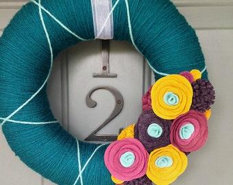 Yarn Wreath Felt Handmade Door Decoration -  Fall Beauty 12in
