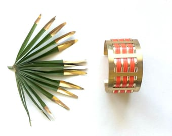 """Graphic and colorful Cuff Bracelet Golden and Red flame geometric pattern """"63"""""""