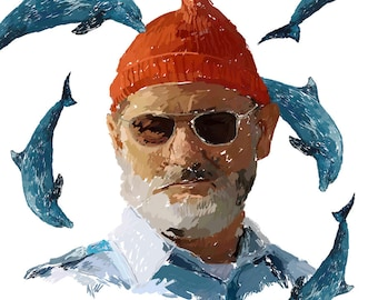 Film Posters// 'The Life Aquatic with Steve Zissou' // Bill Murray // Wes Anderson //dolphins